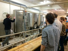 Learning about the beer-brewing process.