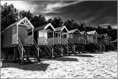 Beach Huts ~ Wells-next-the-Sea (Explored 13/5/2015) (Smudge 9000) Tags: uk england bw beach silver seaside spring unitedkingdom norfolk huts gb wellsnextthesea 2015 efex northnorfolkdistrict