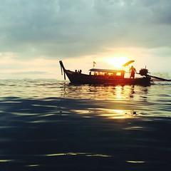towards the sun (marin.tomic) Tags: travel sunset sea sun beach water asian thailand boat asia southeastasia thai tropical tropics longtailboat iphone railay railaybeach