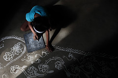 Drik001317 (Drik Images) Tags: blue people color colour art girl horizontal chalk asia traditional country culture ground countries slate tradition bangladesh cultural developing decorativeart southasia thirdworld manikganj majorityworld alpona