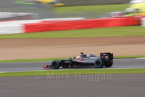 Fernando Alonso in his McLaren in Free Practice 3 at the 2016 British Grand Prix