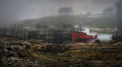 Harbour Mist (Carolyn Little) Tags: novascotia peggyscove fishing boat water red lobster traps wharf rocks landscape ocean fog mist seaweed themysticfog coppercloudsilvernsun ie