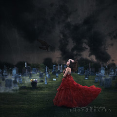 Midnight Haunting (Nurseries and Nurslings Photography) Tags: dark graveyard girl fineart composite concept raven halloween haunted haunting ghost