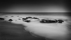 Harmony (Vilvesh) Tags: morning sea sky bw beach nature colors monochrome clouds canon photography rocks hues chennai tamilnadu kovalam cwc sigma1020mm ndfilter longeposure chennaiweekendclickers cwcwalk