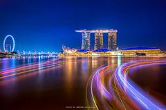 MARINA BAY AT DUSK (::: a j z p h o t o g r a p h y :::) Tags: travel reflection tourism singapore landmark lighttrails touristattraction waterreflection marinabay helixbridge singaporeflyer marinabaysands artsciencemuseum