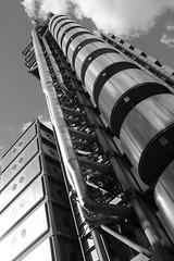 image (Kathi Huidobro) Tags: blackwhite bw squaremile thecityoflondon brutalism modern contemporaryarchitecture contemporary londonbuildings iconic urban perspective metal facade metalfacade insideout sirnormanfoster fosterpartners london architecture lloydsbuilding