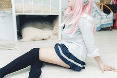 jan15 (Nhp xinh trai siu cp !) Tags: supersonico sonico anime cosplay man manga festival indoor studio white calf sexy pinkhair pink seminuy seminude