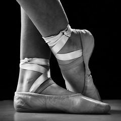 Aspiring Feet (davidandsus) Tags: mono blackandwhite ballet silk shoes square