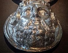 One of nine Silvered bronze phalerae depicting a mythological figure (Zeus Ammon) awarded to Titus Flavius Festus Roman 1st century CE (mharrsch) Tags: medal donamilitaria military legionary phalera phalerae valor bravery courage award silver roman ancient 1stcenturyce neuesmuseum berlin germany mharrsch