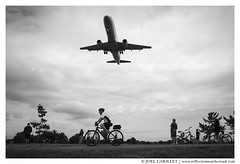 Watching planes land at Reagan National Airport (Joel Carillet) Tags: americanairlines americaneagle jet washingtondc landing midair flying travel people blackandwhite outdoors runway park arlington summer cyclist bicycle riding exercise usa ronaldreaganwashingtonnationalairport airport sky cloud transportation adult cyclinglane trail watching