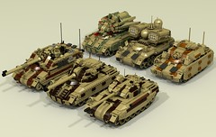 Medium Tank Variations (-Lee Barton-) Tags: lego ldd lddtopovray povray tank military missilelauncher tankdestroyer mediumtank mortar antiaircraft flamethrower