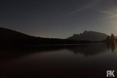 Two Jack Lake (ryan.kole32) Tags: banff banffalberta banffnationalpark nationalpark alberta canada canadianrockies rockies rockymountains landscape nature beauty beautyinnature travel outdoors hiking night nightphotography nightscape twojacklake reflection mirrorimage sony sonya77 star stars meteor clouds moon trees forest