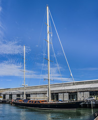 another superyacht at pier 17 (pbo31) Tags: california nikon d810 bayarea august 2016 summer boury pbo31 color northerncalifornia sanfrancisco panoramic large stitched panorama embarcadero sail boat blue pier17 yacht sailboat super reflection bay