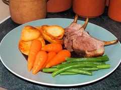 Lamb Cutlets (Lamerie) Tags: food beans gravy roast meal lamb carrots