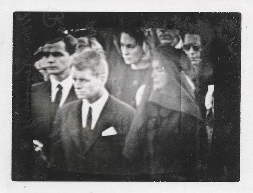 From flickr.com: Television screen showing the funeral of JFK {MID-295137}