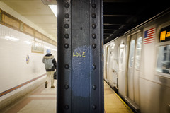 Love (wwward0) Tags: nyc love station train underground subway manhattan painted gabe platform indoor cc graffitti mta column ntrain handwritten 8thst wwward0