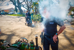 Steam up (The Image Den) Tags: england people easter person unitedkingdom candid smoke surreal event stjamespark southampton bizarre contrejour easteregghunt steamrally