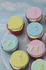 Christening Cupcakes (Crumbellini) Tags: baby cupcakes teddy pastel christening blocks bunting