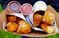 zeppoles with dipping sauces from Girl Friday at Off the Grid Picnic in the Presidio (Fuzzy Traveler) Tags: sanfrancisco dessert chocolate cream doughnuts presidio deepfried girlfriday zeppole offthegrid