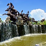 Horse sculpture with water feature in Muang Boran (Ancient Siam) in Samut Prakan, Thailand thumbnail