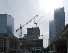 One York and Harbour Plaza (Marcanadian) Tags: life plaza york city sun mist toronto ontario canada building tower fog architecture one spring construction downtown cityscape waterfront harbour harbourfront financial development streetscape menkes