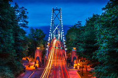 Lions Gate Bridge (davecurry8) Tags: nightphotography bridge canada vancouver bc burrardinlet stanleypark lighttrails bluehour lionsgate