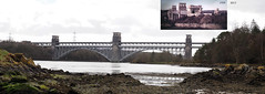 Robert Stephenson's (1850) Britannia Bridge across Menai-Straits in 1959 (rail) & as seen updated in 2015 (+ motorway) (wombalano) Tags: history wales cymru menaistraits britanniabridge wombalano