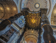 The Bernini Canopy in St. Peters Basilica (Dennis Herzog) Tags: italy vatican stpeters rome europe catholic religion stpetersbasilica religiousicons berniniberninicanopy