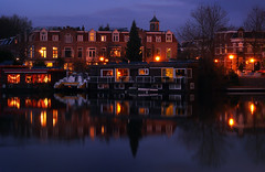 Lombok (Robert-Jan van Lotringen) Tags: nightphotography windows house holland reflection brick tower tourism church monument water netherlands lights evening boat canal utrecht cityscape quiet houseboat catamaran serene typical picturesque lombok monumental ooginal bleuhour
