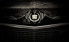 (E. Nelson) Tags: car sepia vintage emblem rust texas empty south cadillac grill southern carshow caddy pinstripe southtexas 2014 ericnelson enelson exn exnimages