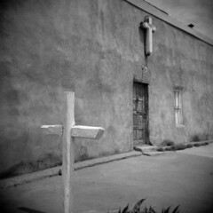Truchas #2 (LowerDarnley) Tags: holga truchas newmexico southwest adobe crosses crucifix religion