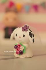 rabbit and bunny Wedding Cake Topper (charles fukuyama) Tags: wedding bride conejo clay custom bridalveil lapin weddingceremony sculpted  bridalbouquet weddingcaketopper cuterabbit handmadecaketopper animalscaketopper kikuike