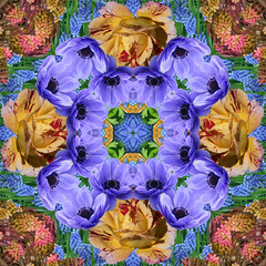 Kaleidoscopic Floral 1.2 (Ursa Davis) Tags: flowers blue red roses plant abstract flower holland color geometric netherlands floral dutch rose yellow oregon digital photoshop portland photography photo flora purple bell manipulation kaleidoscope anemone davis bluebell ursa kaleidoscopic keukenhof coloful