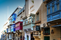 Valletta Balconies (4) (Michael N Hayes) Tags: malta valletta mediterranean balconies europe summer fujifilmxpro1 sea culture city