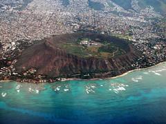 Diamond Head Crater Aerial (breannasuri) Tags: diamondhead volcano crater hawaii oahu tourism tourist waikiki ocean tropics sea waves reef aerial view landmark airplaneview birdseyeview houses hikingtrail hike