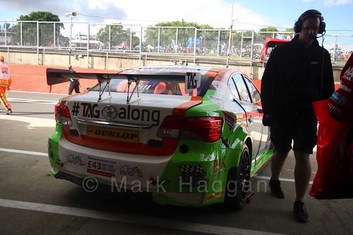 Jake Hill leaving the garage during the BTCC Brands Hatch Finale Weekend October 2016