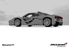 McLaren F1 (1997 - Gordon Murray) (lego911) Tags: auto road uk england english car woking model lego render under over engine f1 ron mclaren gordon million gb bmw 1997 british dennis murray supercar challenge 1990s thousand cad sportscar lugnuts 89 povray v12 moc ldd miniland hypercar lego911 overamillionunderathousand