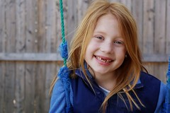 Toothless beauty (meredithalisonphotography) Tags: blue portrait people girl smile kids canon children daughter naturallight redhead toothless missingteeth