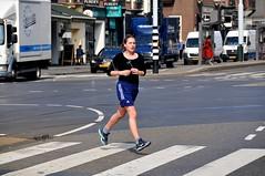 Lente - Spring - Printemps - Frhling (FaceMePLS) Tags: girl amsterdam ipod nederland thenetherlands streetphotography sneakers zebra youngwoman zebrapad joggen adidasshorts straatfotografie rokjesdag facemepls oversteekplaats nikond300 jongevrouw