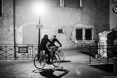Night Biking (Maestr!0_0!) Tags: street urban white black france annecy bike night canon 50mm noir 1d biking rue blanc velo urbain f12