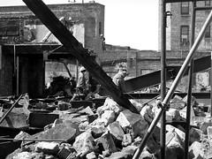 Demolished (Robert S. Photography) Tags: street nyc blackandwhite monochrome brooklyn canon construction rich poor powershot shops demolished torndown kingshighway 2015 a3400 yuppiefication