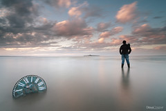 Time and tide wait for no man (Steve Clasper) Tags: uk longexposure sunset seascape clock beach island coast north northumberland coastal northern selfie coquet lowhauxley steveclasper