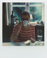 Morning coffee (I-1) (mmartinsson) Tags: morning woman color coffee polaroid scan 600 i1 2016 instantfilm analoguephotography epsonperfectionv700 impossibleproject impossiblei1