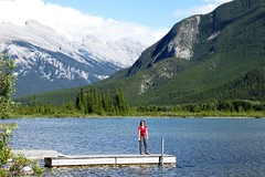 Amy (Patricia Henschen) Tags: park trees lake canada mountains clouds rockies drive pier lakes rocky canadian national alberta banff roadside northern larch vermilion banffnationalpark vermilionlakes