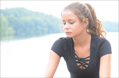 Desiree - Lake Logan (rbatina) Tags: rubbertoe lake logan ohio oh pose posed posing outside amatuer model modeling pretty young cute girl beautiful woman hot lady little small thin skinny petite body size tan brunette long hair teen teenage skin eyes face mouth lips outdoors bare arms legs short shorts camo black tight shirt top curly wavy net covered chest cleavage girly fit athletic chick babe summer warm overexposed over exposed washed out july 21 21st 2016