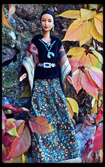 Princess of the Navajo Barbie (moodydolls) Tags: mattel barbie doll bambola princess navajo principessa traditional dress jewelry tradizionale abito gioielli woven shawl scialle intessuto symbols simboli turquoisecolor turchese silver argento autumn autunno colourful colorato leaves foglie