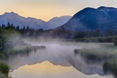 Vermilion Sunrise (tomr0b7) Tags: canadianrockies banff vermilionlakes banffnationalpark jasper mist sunrise