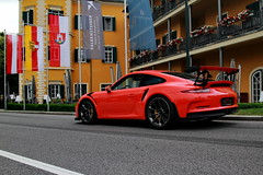 GThree RS (D.N. Photography) Tags: canon cars car automotive automobiles auto automobile austria am worldcars wrthersee vehicle vehicles velden supercars supercar eos exotic exotics 7d porsche parking hotel falkensteiner schlosshotel flags lava orange gt3 gt3rs rs