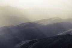 Appalachia (ZakCollins) Tags: mountain appalachian blackwhite landscape rays fog hills split tone nikon horizontal northcarolina pisgah mt mitchell