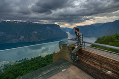 Just admiring (huddart_martin) Tags: norway norge aurland aurlandsfjorden selfportrait selfie myself fjord mountains platform view landscape nature stunning sonya99 sunset